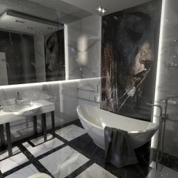 Łazienka w czerni i bieli z przepiękną mozaiką.