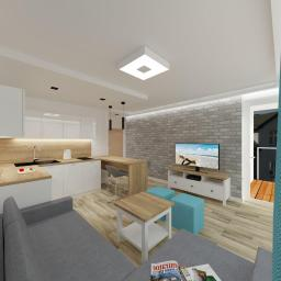 Projekt wnętrz - mieszkanie wakacyjne w Dziwnowie - salon z aneksem kuchennym