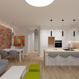 Projekt wnętrz - mieszkanie w Policach - salon z aneksem kuchennym - 2 wariant
