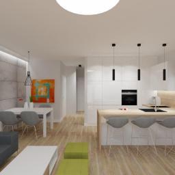 Projekt wnętrz - mieszkanie w Policach - salon z aneksem kuchennym