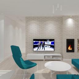 Projekt wnętrz - mieszkanie w Szczecinie - salon z aneksem kuchennym