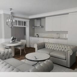 Wizualizacja_metamorfoza: salon z kuchnia, przed realizacja
