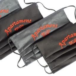 Maseczki z Twoim HAFTOWANYM LOGO! Wykonujemy dwuwarstwowe maseczki ochronne z kieszonką na dodatkowy filtr każda ilość-nawet 1 sztuka!