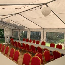 Namiot cateringowy 5x10 z wyposażeniem. Idealny na komunię, poprawiny czy inną imprezę okolicznościową.