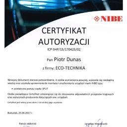 Certyfikat autoryzacji montażu pomp ciepła typu SPLIT NIBE