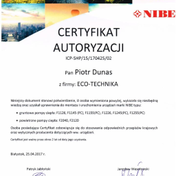 Certyfikat autoryzacji montażu pomp ciepła typu MONOBLOK NIBE