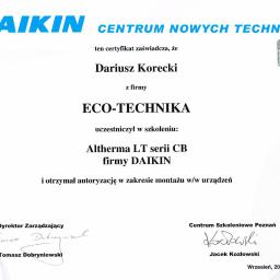 Certyfikat autoryzacji montażu Daikin