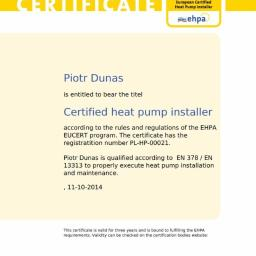 Certyfikat i Znak Jakości Q organizacji EHPA