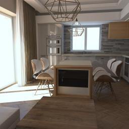 Kolejne zlecenie w apartamentowcu nad morzem. Małe mieszkanie 54m.  Życzenie klienta - ciepło, domowo, jasne kolory.