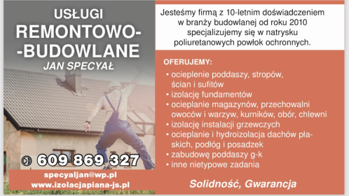 Usługi Remontowo-Budowlane - Izolacja fundamentów Łekno