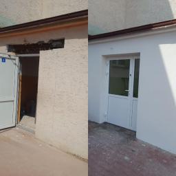 Wycinanie odpowiednich wymiarów pod drzwi,wymiana nadproży,Montaż drzwi zewnętrznych,tynk mineralny tzw.baranek