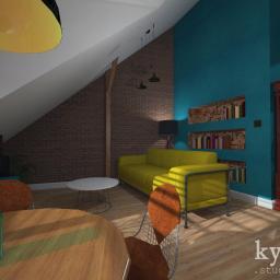 Projekt adaptacji poddasza na mieszkanie- salon