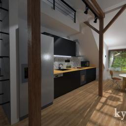 Projekt adaptacji poddasza na mieszkanie- kuchnia