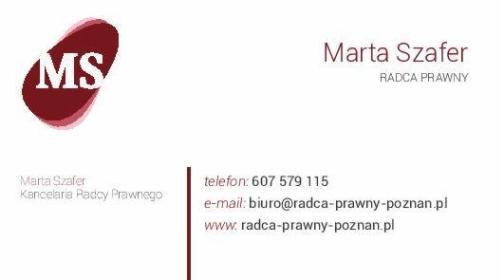 KANCELARIA PRAWNA RADCA PRAWNY MARTA SZAFER - Obsługa prawna firm Poznań