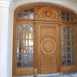 Drzwi zewnętrzne drewniane dębowe, szyby zespolone fazowane