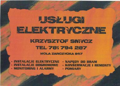 Usługi elektryczne- Krzysztof Smycz - Alarmy Wola Żarczycka