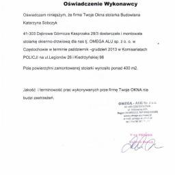 Referencje OMEGA ALU Sp. z o.o.