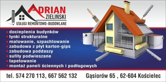 Us艂ugi Remontowo-Budowlane Adrian Zieli艅ski - P艂yta karton gips Ko艣cielec