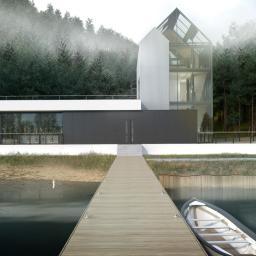 Przeszklony modernistyczny duży dom jednorodzinny