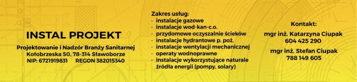 INSTAL PROJEKT Projektowanie i Nadzór Branży Sanitarnej - Projektowanie Instalacji Wod-kan Sławoborze