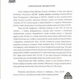 Referencje, Zamek w Kórniku, klient od 1998 roku.
