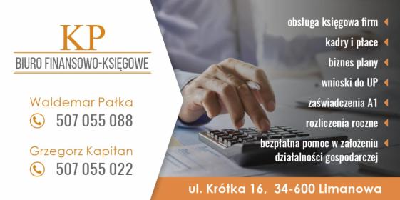 """BIURO FINANSOWO - KSIĘGOWE """"KP"""" GRZEGORZ KAPITAN - Biuro rachunkowe Limanowa"""