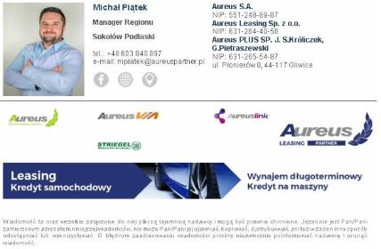 Partner Franczyzowy - Aureus Leasing Partner - Kredyt dla firm Siedlce