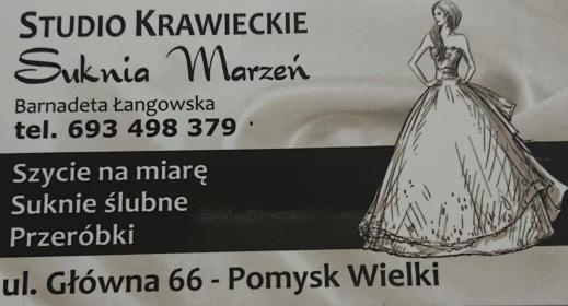 """Studio Krawieckie """" Suknia Marzeń """" Bernadeta Łangowska - Rzemiosło Pomysk Wielki"""