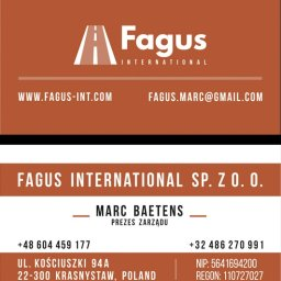 logotyp i wizytówka dwustronna Fagus International