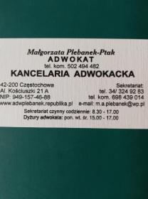 Kancelaria Adwokacka Adwokat Małgorzata Plebanek-Ptak - Porady Prawne Częstochowa
