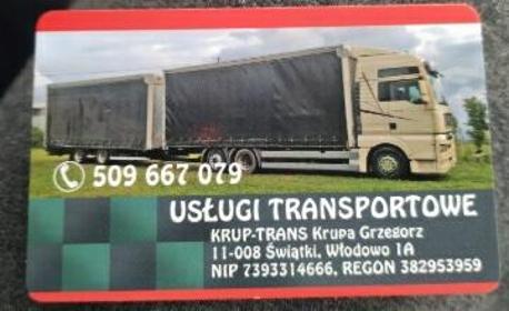 Usługi transportowe TRUP-TRANS Krupa Grzegorz - Przeprowadzki Włodowo