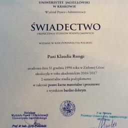 Świadectwo ukończenia studiów podyplomowych z zakresu prawa karnego materialnego i procesowego na Uniwersytecie Jagiellońskim w Krakowie