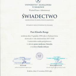 Świadectwo ukończenia studiów podyplomowych z zakresu medycznego i bioetyki na Uniwersytecie Jagiellońskim w Krakowie
