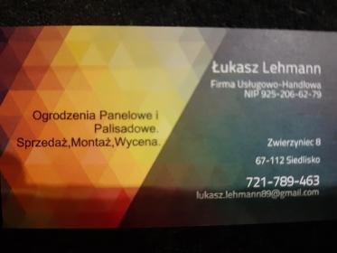 Firma usługowo handlowa Lukasz Lehmann - Ogrodzenia panelowe Zwierzyniec