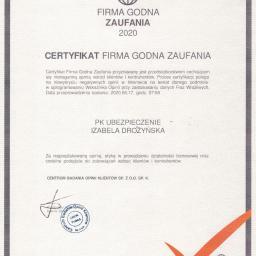 Certyfikat - FIRMA GODNA ZAUFANIA