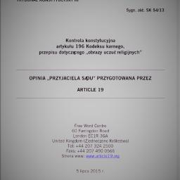 Tłumaczenie opinii amicus curiae złożonej przed Trybunałem Konstytucyjnym.