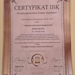 certyfikat IBK (przedsiębiorstwo godne zaufania).