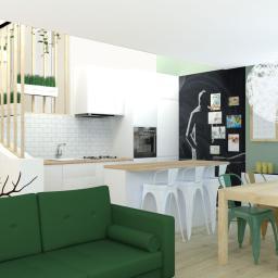 salon z kuchnią w szeregowcu