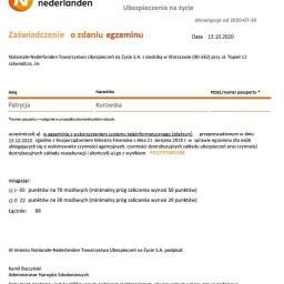 Zaświadczenie o zdaniu egzaminu Komisji Nadzoru Finansowego