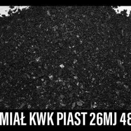 """Eko Miał Parametry Węgla """"KWK PIAST"""" Wartość opałowa – 24-26 MJ/kg. Zawartość siarki – 0,81-0,93% Zawartość popiołu – 6-7% Średnica ziarna – 0-24 mm."""