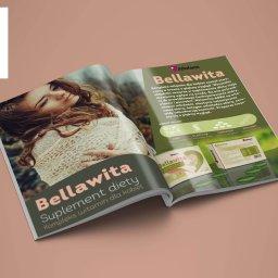Projekt reklamy suplementu diety, rozkładówka w gazecie, projekt opakowania