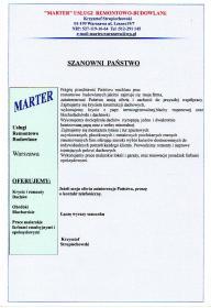 """""""MARTER"""" - Dekarz Warszawa"""