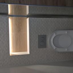 łazienka - podświetlana półka, płytki dekor