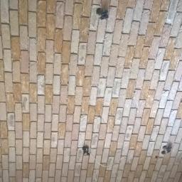 salon - ściana z cegły (licówka)