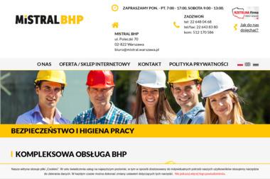 Mistral. Centrum bhp. Dystrybucja odzieży roboczej, środków czystości i art. bhp - BHP, ppoż, bezpieczeństwo Warszawa