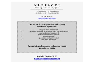 KLEPACCY Usługi Geodezyjne s.c. J.Klepacki, M.Klpepacki - Geodeta Wrocław