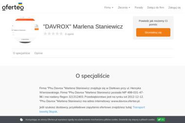 """""""DAVROX"""" Marlena Staniewicz - Przeprowadzki Słupsk"""