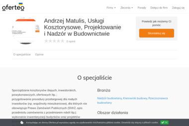 Andrzej Matulis, Usługi Kosztorysowe, Projektowanie i Nadzór w Budownictwie - Nadzór budowlany Bartoszyce