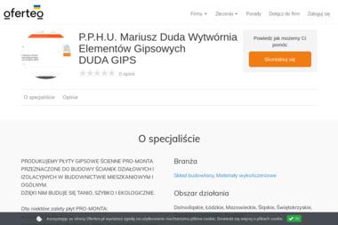 P.P.H.U. Mariusz Duda Wytwórnia Elementów Gipsowych DUDA GIPS - Materiały wykończeniowe Szczerców