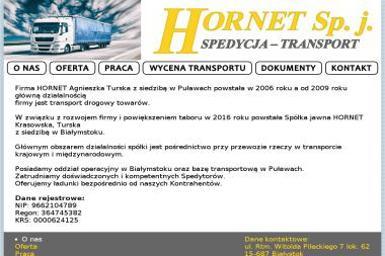 HORNET Krasowska, Turska Sp.j. - Transport ciężarowy krajowy Białystok